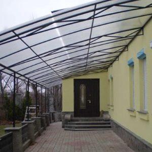 Навес к дому из поликарбоната во Владимире и Москве