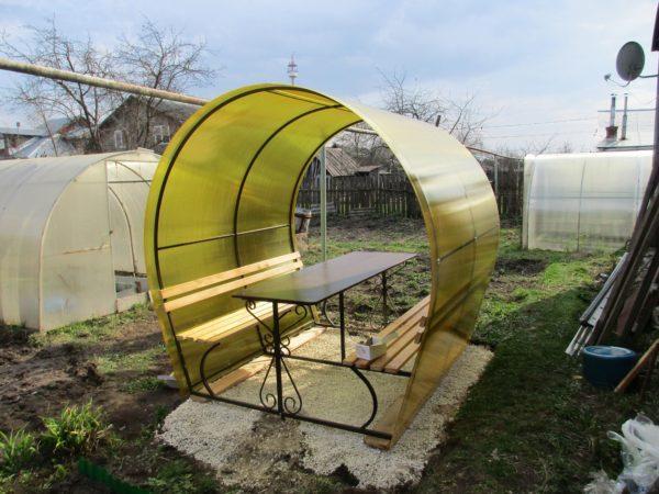 Садовая беседка из металла и поликарбоната фото в Коврове